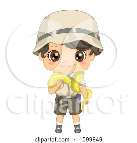 Clipart of a Zoo Keeper Boy with a Python Snake - Royalty Free Vector Illustration by BNP Design Studio