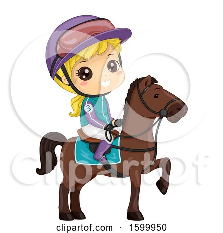 Clipart of a Blond White Girl Jockey on a Horse - Royalty Free Vector Illustration by BNP Design Studio