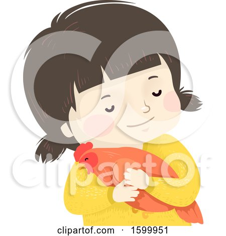 Clipart of a Happy White Girl Hugging a Pet Chicken - Royalty Free Vector Illustration by BNP Design Studio