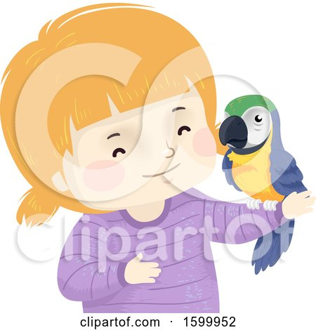 Clipart of a Happy White Girl Holding a Pet Parrot - Royalty Free Vector Illustration by BNP Design Studio
