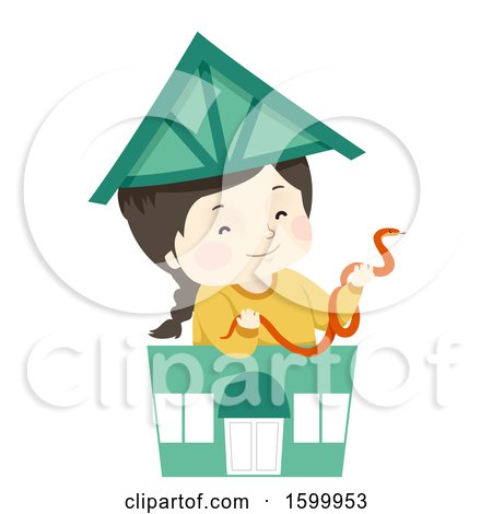 Clipart of a Happy White Girl Holding a Pet Snake in a Toy Pet Shop - Royalty Free Vector Illustration by BNP Design Studio