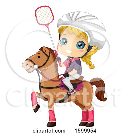 Clipart of a Blond White Polocrosse Girl on a Horse - Royalty Free Vector Illustration by BNP Design Studio