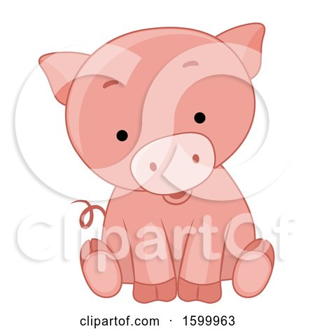 Clipart of a Cute Sitting Piglet - Royalty Free Vector Illustration by BNP Design Studio
