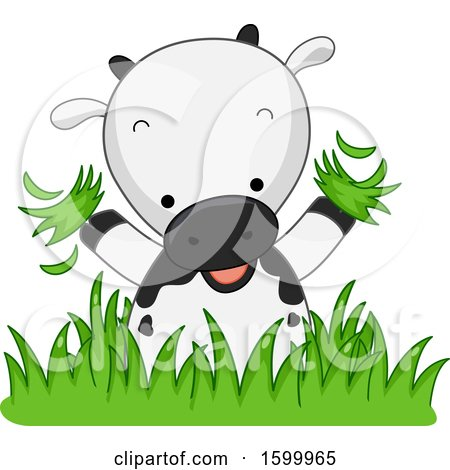 Clipart of a Cute Cow Playing in Grass - Royalty Free Vector Illustration by BNP Design Studio