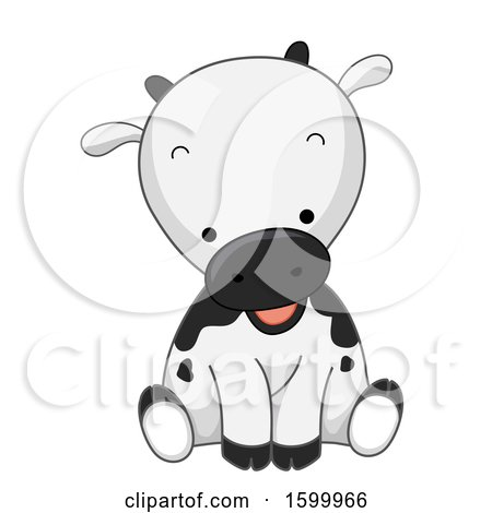 Clipart of a Cute Cow Sitting - Royalty Free Vector Illustration by BNP Design Studio