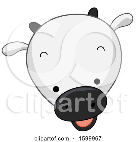 Clipart of a Cute Cow Face - Royalty Free Vector Illustration by BNP Design Studio