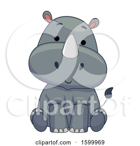 Clipart of a Cute Sitting Rhinoceros - Royalty Free Vector Illustration by BNP Design Studio