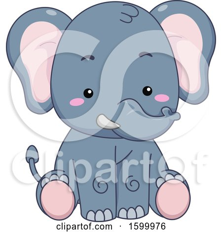 Clipart of a Cute Sitting Elephant - Royalty Free Vector Illustration by BNP Design Studio