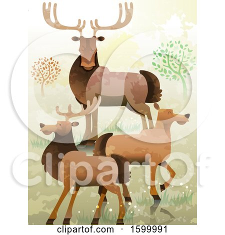 Clipart of a Group or Gang of Elk - Royalty Free Vector Illustration by BNP Design Studio