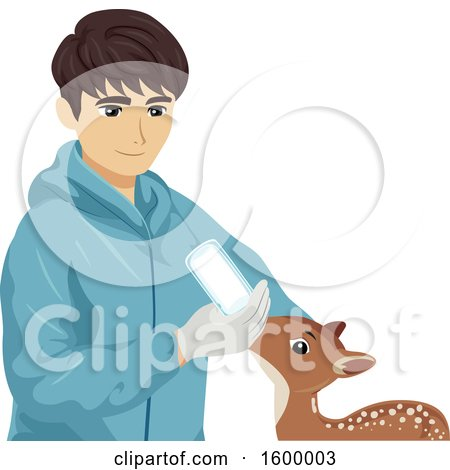 Clipart of a Young Man Bottle Feeding a Rescued Baby Deer - Royalty Free Vector Illustration by BNP Design Studio
