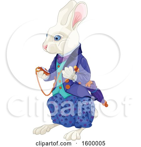 Clipart of a White Rabbit of Wonderland Looking at a Watch - Royalty Free Vector Illustration by Pushkin