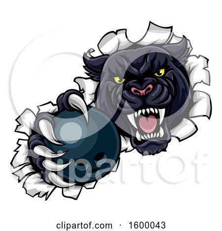 Clipart of a Black Panther Mascot Breaking Through a Wall with a Bowling Ball - Royalty Free Vector Illustration by AtStockIllustration