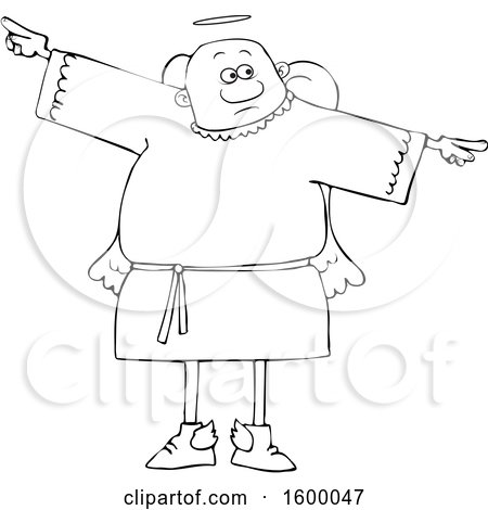 Clipart of a Cartoon Lineart Black Male Angel Holding His Arms out at His Sides - Royalty Free Vector Illustration by djart