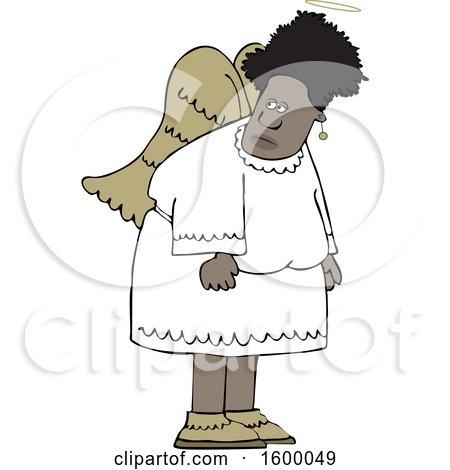 Clipart of a Cartoon Black Female Angel - Royalty Free Vector Illustration by djart