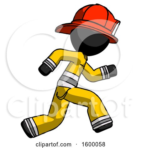 Black Firefighter Fireman Man Running Fast Right by Leo Blanchette