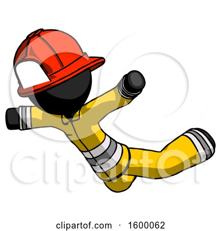 Black Firefighter Fireman Man Skydiving or Falling to Death by Leo Blanchette