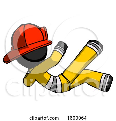 Black Firefighter Fireman Man Falling Backwards by Leo Blanchette