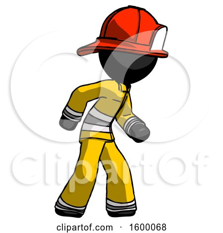 Black Firefighter Fireman Man Suspense Action Pose Facing Right by Leo Blanchette
