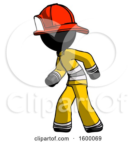 Black Firefighter Fireman Man Suspense Action Pose Facing Left by Leo Blanchette