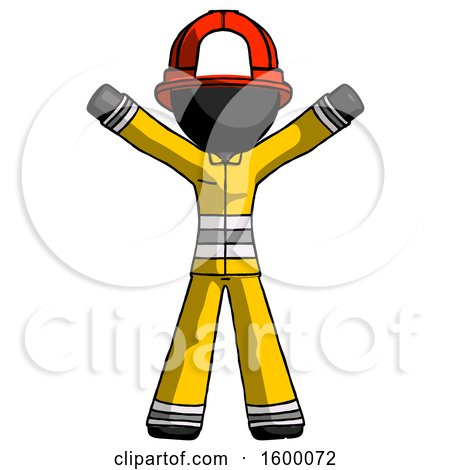 Black Firefighter Fireman Man Surprise Pose, Arms and Legs out by Leo Blanchette
