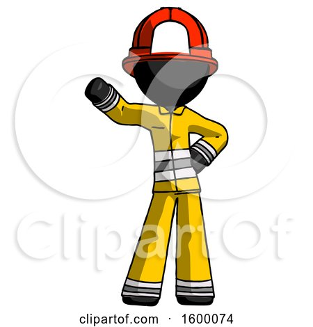 Black Firefighter Fireman Man Waving Right Arm with Hand on Hip by Leo Blanchette