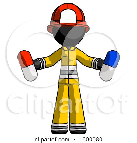 Black Firefighter Fireman Man Holding a Red Pill and Blue Pill by Leo Blanchette