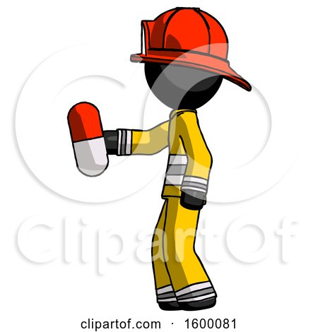 Black Firefighter Fireman Man Holding Red Pill Walking to Left by Leo Blanchette