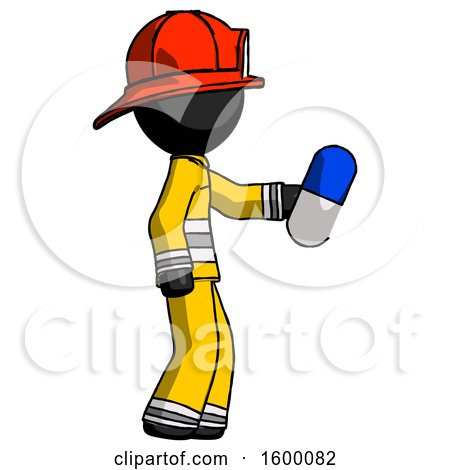 Black Firefighter Fireman Man Holding Blue Pill Walking to Right by Leo Blanchette