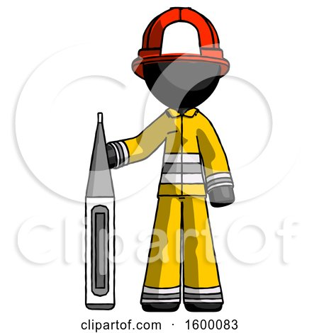 Black Firefighter Fireman Man Standing with Large Thermometer by Leo Blanchette