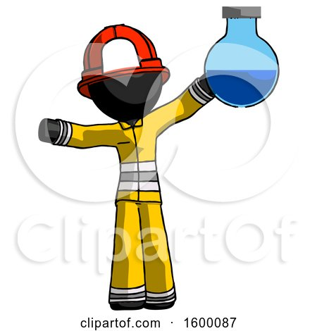Black Firefighter Fireman Man Holding Large Round Flask or Beaker by Leo Blanchette