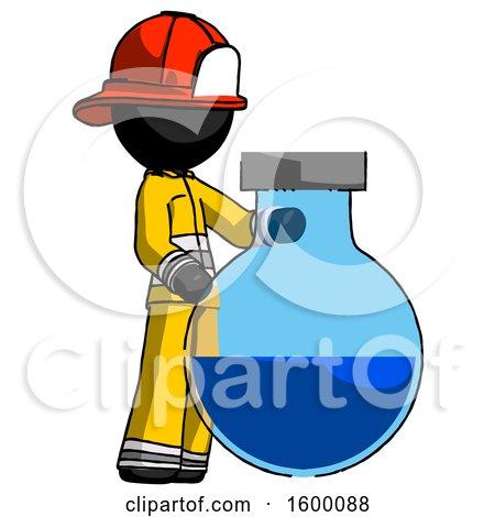 Black Firefighter Fireman Man Standing Beside Large Round Flask or Beaker by Leo Blanchette