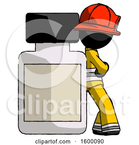 Black Firefighter Fireman Man Leaning Against Large Medicine Bottle by Leo Blanchette