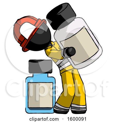 Black Firefighter Fireman Man Holding Large White Medicine Bottle with Bottle in Background by Leo Blanchette