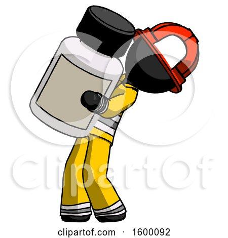 Black Firefighter Fireman Man Holding Large White Medicine Bottle by Leo Blanchette
