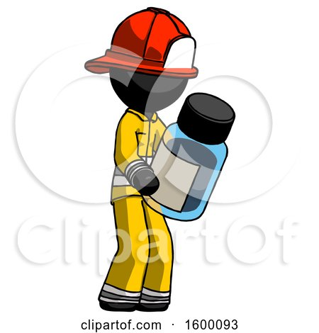Black Firefighter Fireman Man Holding Glass Medicine Bottle by Leo Blanchette