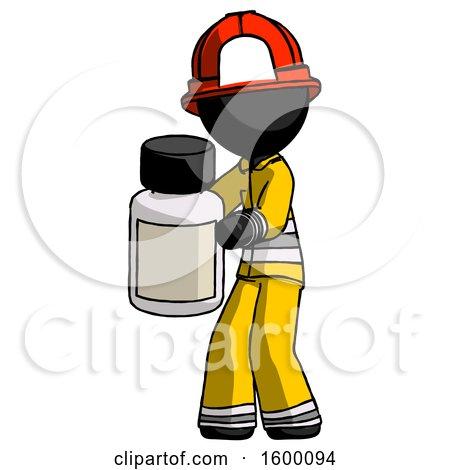 Black Firefighter Fireman Man Holding White Medicine Bottle by Leo Blanchette