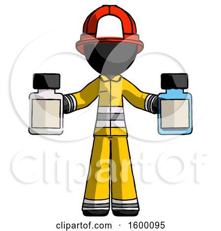 Black Firefighter Fireman Man Holding Two Medicine Bottles by Leo Blanchette