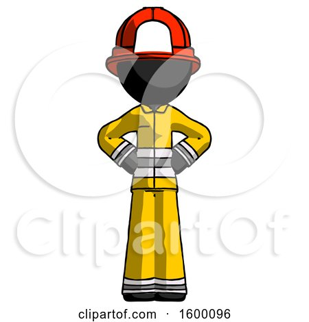 Black Firefighter Fireman Man Hands on Hips by Leo Blanchette