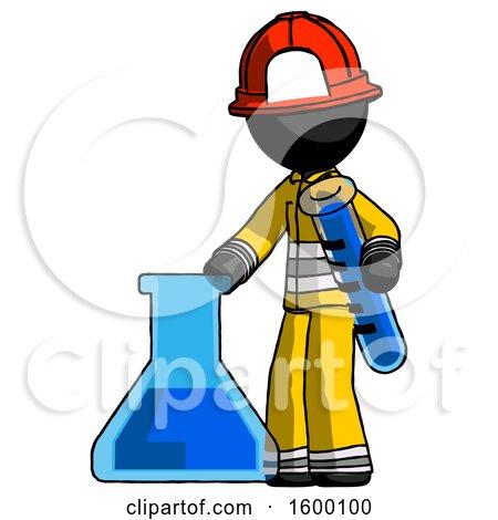 Black Firefighter Fireman Man Holding Test Tube Beside Beaker or Flask by Leo Blanchette