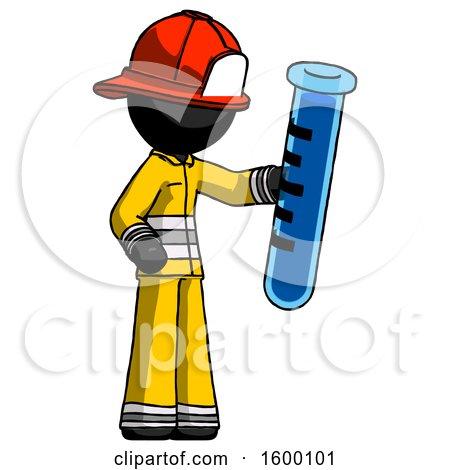 Black Firefighter Fireman Man Holding Large Test Tube by Leo Blanchette