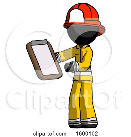 Black Firefighter Fireman Man Reviewing Stuff on Clipboard by Leo Blanchette