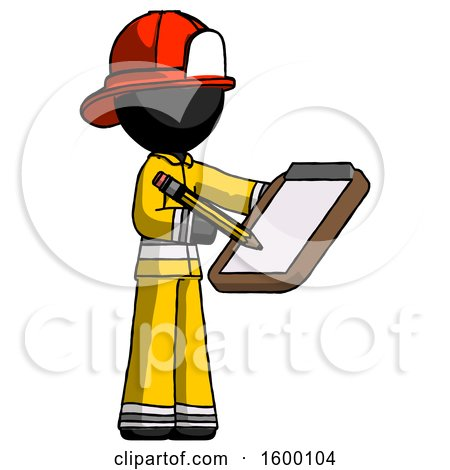 Black Firefighter Fireman Man Using Clipboard and Pencil by Leo Blanchette