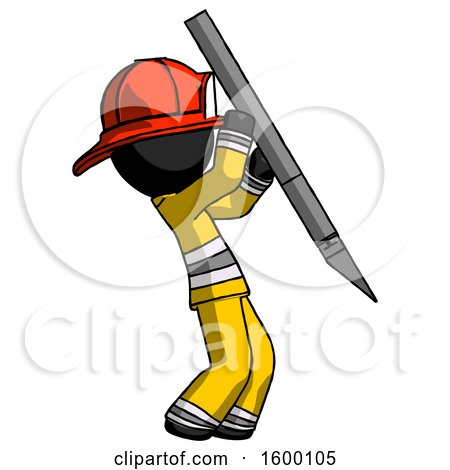 Black Firefighter Fireman Man Stabbing or Cutting with Scalpel by Leo Blanchette