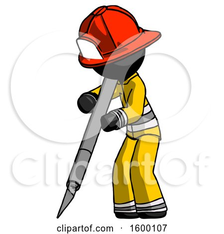 Black Firefighter Fireman Man Cutting with Large Scalpel by Leo Blanchette