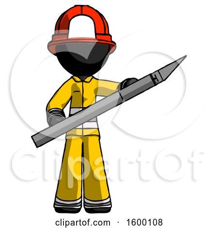 Black Firefighter Fireman Man Holding Large Scalpel by Leo Blanchette