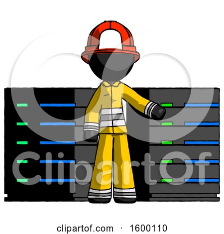 Black Firefighter Fireman Man with Server Racks, in Front of Two Networked Systems by Leo Blanchette