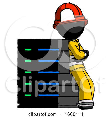 Black Firefighter Fireman Man Resting Against Server Rack Viewed at Angle by Leo Blanchette