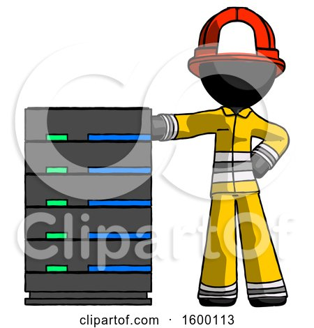 Black Firefighter Fireman Man with Server Rack Leaning Confidently Against It by Leo Blanchette