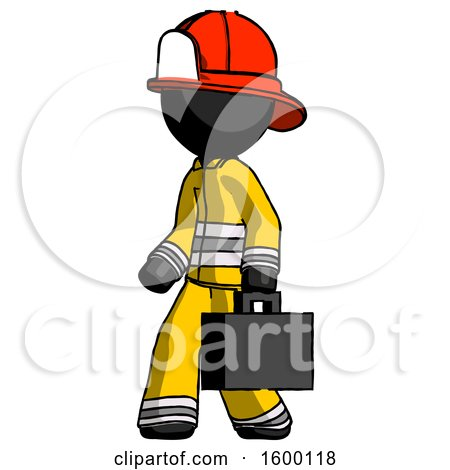 Black Firefighter Fireman Man Walking with Briefcase to the Left by Leo Blanchette