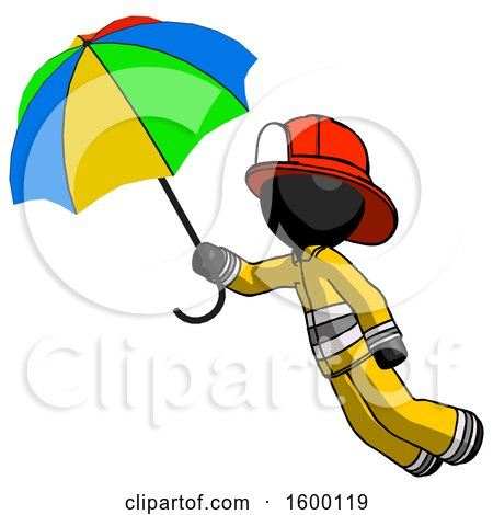 Black Firefighter Fireman Man Flying with Rainbow Colored Umbrella by Leo Blanchette